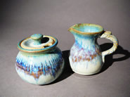 Handmade ceramic sugar and creamer set