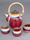 Copper Handmade Pottery Red Tea Set